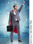 Businessman in superhero concept with red cover. Стоковое фото, фотограф Elnur / Фотобанк Лори