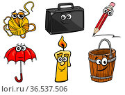 Cartoon illustration of funny objects characters clip art set. Стоковое фото, фотограф Zoonar.com/Igor Zakowski / easy Fotostock / Фотобанк Лори