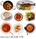 Set of various tasty dishes of Turkish cuisine isolated. Стоковое фото, фотограф Яков Филимонов / Фотобанк Лори