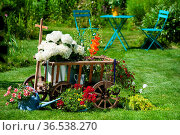 Alter Leiterwagen mit Blumen im Garten. Стоковое фото, фотограф Zoonar.com/DZIERZAWA / easy Fotostock / Фотобанк Лори
