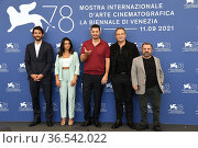 The director Gabriele Mainetti and cast: Claudio Santamaria, Aurora... Редакционное фото, фотограф Maria Laura Antonelli / AGF/Maria Laura Antonelli / age Fotostock / Фотобанк Лори