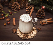 Hot chocolate with white marshmallow slices in a ceramic mug on a... Стоковое фото, фотограф Zoonar.com/Danko Natalya / easy Fotostock / Фотобанк Лори