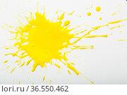 Yellow paint spots on paper, colorfull artistic image on white background. Стоковое фото, фотограф Яков Филимонов / Фотобанк Лори