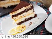 Delicious lemon chocolate cake closeup. Стоковое фото, фотограф Яков Филимонов / Фотобанк Лори