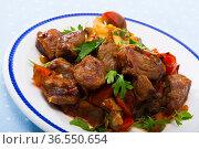 Meat baked with mushrooms and vegetables. Стоковое фото, фотограф Яков Филимонов / Фотобанк Лори