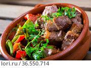 Bulgarian baked meat and vegetables. Стоковое фото, фотограф Яков Филимонов / Фотобанк Лори