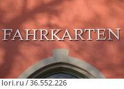 Fahrkarten Schriftzug, Meersburg, Baden-Wuerttemberg, Deutschland... Стоковое фото, фотограф Zoonar.com/Günter Lenz / age Fotostock / Фотобанк Лори