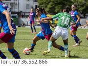 Partido de Liga Iberdrola. 2º Jornada. Betis Féminas - FC Barcelona... Редакционное фото, фотограф Salvador López Medina / age Fotostock / Фотобанк Лори