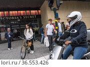 Stockholm, Sweden A group of electric scooter afficionados on a Sunday... Редакционное фото, фотограф A. Farnsworth / age Fotostock / Фотобанк Лори
