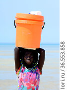 Girls standing on beach with bucket on head, on way to collect water, Orango Island, Bijagos UNESCO Biosphere Reserve, Guinea Bissau, February 2015. Стоковое фото, фотограф Enrique Lopez-Tapia / Nature Picture Library / Фотобанк Лори