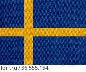 Fahne von Schweden auf altem Leinen - Flag of Sweden on old linen. Стоковое фото, фотограф Zoonar.com/lantapix / easy Fotostock / Фотобанк Лори