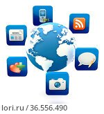Globe with cloud of application icons Note: All Devices design and... Стоковое фото, фотограф Zoonar.com/Roberto Rizzo / easy Fotostock / Фотобанк Лори