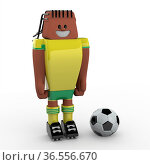 3D Soccer Player on White Background. Стоковое фото, фотограф Zoonar.com/Roberto Rizzo / easy Fotostock / Фотобанк Лори