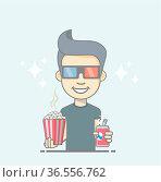 Boy wearing 3D glasses holding coke and popcorn box. Стоковое фото, фотограф Zoonar.com/Roberto Rizzo / easy Fotostock / Фотобанк Лори