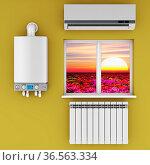 Climatic equipment on the wall near a window. Стоковое фото, фотограф Zoonar.com/Roman Ivashchenko / easy Fotostock / Фотобанк Лори