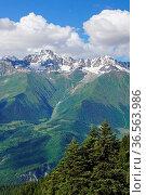 Panorama of the Caucasus Mountains close to Mestia, Georgia, Europe. Стоковое фото, фотограф Zoonar.com/Alexander Ludwig / easy Fotostock / Фотобанк Лори
