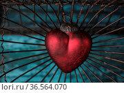 Rote Herzen auf blauen Hintergrund. Стоковое фото, фотограф Zoonar.com/Nailia Schwarz / easy Fotostock / Фотобанк Лори