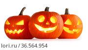 Three Halloween lantern Pumpkins isolated on white background. Стоковое фото, фотограф Zoonar.com/Ivan Mikhaylov / easy Fotostock / Фотобанк Лори