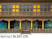 Krönungstempel in der Klosterfestung Punakha Dzong, Punakha, Bhutan... Стоковое фото, фотограф Zoonar.com/Stan / easy Fotostock / Фотобанк Лори