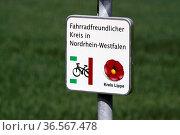 Fahrradfreundlicher Kreis Lippe. Стоковое фото, фотограф Zoonar.com/Martina Berg / easy Fotostock / Фотобанк Лори