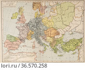 Map of Europe and the Byzantine Empire, c. 1000. From Historical ... Редакционное фото, фотограф Classic Vision / age Fotostock / Фотобанк Лори