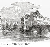 Old Bedford Jail, built on the Town Bridge across the River Ouse, ... Редакционное фото, фотограф Classic Vision / age Fotostock / Фотобанк Лори