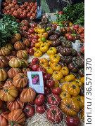 Puesto de venta de tomates en el Borough Market, Southwark, Londres... Стоковое фото, фотограф Eduardo Dreizzen / age Fotostock / Фотобанк Лори