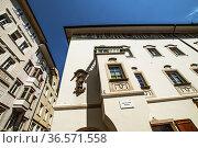 Bolzano, Bozen, Piazza del Grano, Kornplatz, Dolomites, Alpine mountain... Стоковое фото, фотограф Angelo Calvino / age Fotostock / Фотобанк Лори