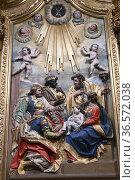 Calahorra, Cathedral of Santa Maria (17th century). Rococo altarpiece... Стоковое фото, фотограф J M Barres / age Fotostock / Фотобанк Лори