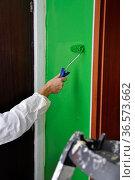 Streichen einer Wand, streichen, wand, farbe, rolle, farbrolle, grün... Стоковое фото, фотограф Zoonar.com/Volker Rauch / easy Fotostock / Фотобанк Лори