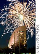 Inter-Continental Hotel and fireworks. Shooting Location: Yokohama... Стоковое фото, фотограф Zoonar.com/Makoto Honda / easy Fotostock / Фотобанк Лори