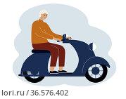 Illustration of a stylish man riding a scooter. Стоковая иллюстрация, иллюстратор Allika / Фотобанк Лори