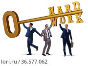 Concept of hard work with the key and businessman. Стоковое фото, фотограф Zoonar.com/Elnur Amikishiyev / easy Fotostock / Фотобанк Лори