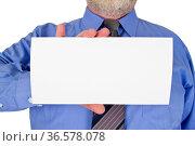 Geschäftsmann hält weißes Blatt Papier. Стоковое фото, фотограф Zoonar.com/Birgit Reitz-Hofmann / easy Fotostock / Фотобанк Лори