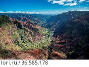 Aerial view of Waimea Canyon and landscape of hawaiian island of Kauai... Стоковое фото, фотограф Zoonar.com/Steven Heap / easy Fotostock / Фотобанк Лори