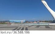 Olympic Park and the Singing Fountain Torch. Редакционное видео, видеограф Мастепанов Павел / Фотобанк Лори