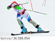 Silvan Zurbriggen, Fis Slalom der Herren, Gudiberg, Gamisch-Partenkirchen... Стоковое фото, фотограф Zoonar.com/GUENTER LENZ / age Fotostock / Фотобанк Лори