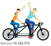 Ein Paar fährt Tandem. Стоковое фото, фотограф Zoonar.com/scusi / age Fotostock / Фотобанк Лори