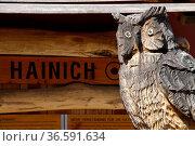 Eule am Infopunkt im Hainich Nationalpark. Стоковое фото, фотограф Zoonar.com/Martina Berg / easy Fotostock / Фотобанк Лори
