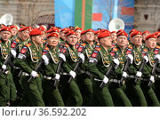 Парадный расчёт военной полиции во время генеральной репетиции парада на Красной площади Москвы в честь Дня Победы. Редакционное фото, фотограф Free Wind / Фотобанк Лори