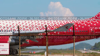 Boeing 747 taxiing at Phuket airport
