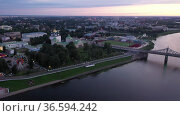 City of Tver. Aerial view of the Volga river embankment. Russia. Стоковое видео, видеограф Яков Филимонов / Фотобанк Лори