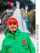 David Siegel (SV Baiersbronn) im Auslauf der Schattenbergschanze, ... Стоковое фото, фотограф Zoonar.com/Joachim Hahne / age Fotostock / Фотобанк Лори