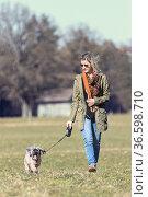 Junge Frau wandert mit ihrem Hund über eine Wiese. Стоковое фото, фотограф Zoonar.com/Hans Eder / easy Fotostock / Фотобанк Лори