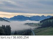 Morgenstimmung am Sudelfeld - Blick ins Inntal und auf das Kaisergebirge. Стоковое фото, фотограф Zoonar.com/Eder Christa / age Fotostock / Фотобанк Лори