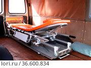 Inside view of used ambulance. Photo taken from the rear doors. Стоковое фото, фотограф Zoonar.com/Volodymyr Khodariev / easy Fotostock / Фотобанк Лори