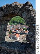 Burg, Lindenfels, mauer, burgmauer, fenster, odenwald, hessen, festung... Стоковое фото, фотограф Zoonar.com/Volker Rauch / easy Fotostock / Фотобанк Лори