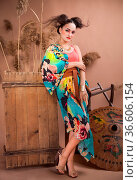 Stylized portrait of a Japanese geisha with bright make up. Стоковое фото, фотограф Zoonar.com/Dasha Petrenko / easy Fotostock / Фотобанк Лори