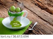 Einladung zum Oster-Frühstück mit Osterhase und Schriftzug You're... Стоковое фото, фотограф Zoonar.com/Petra Schüller / easy Fotostock / Фотобанк Лори