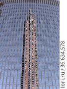 Messeturm, Hochhaus, Frankfurt, wolkenkratzer, spiegelung, spiegelbild... Стоковое фото, фотограф Zoonar.com/Volker Rauch / easy Fotostock / Фотобанк Лори